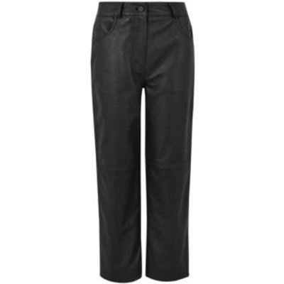 M&S Autograph Womens Leather Straight Leg Cropped Trousers - 8 - Black, Black