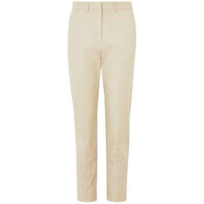 M&S Autograph Womens Cotton Slim Fit Ankle Grazer Trousers - 16 - Opaline, Opaline