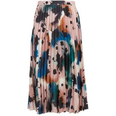 M&S Autograph Womens Abstract Floral Pleated Midi Skirt - 6 - Peach Mix, Peach Mix
