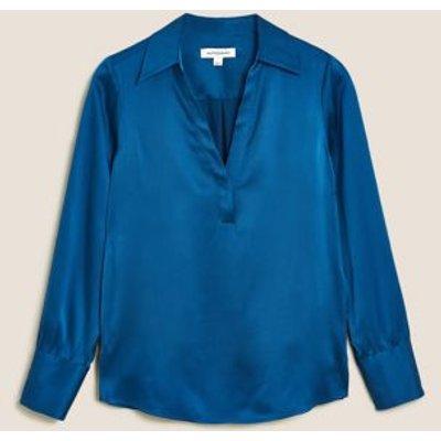 M&S Autograph Womens Pure Silk V-Neck Long Sleeve Blouse - 8 - Blue, Blue