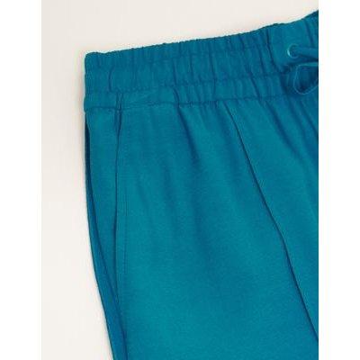 M&S Autograph Womens Satin Back Crepe Wide Leg Trousers - 8 - Blue, Blue