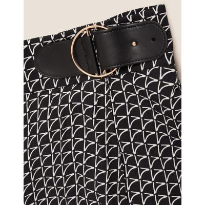 M&S Autograph Womens Geometric Buckle Detail Midi Wrap Skirt - 6 - Black Mix, Black Mix