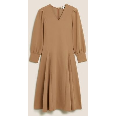 M&S Autograph Womens Jersey V-Neck Midi Fit & Flare Dress - 6 - Soft Brown, Soft Brown