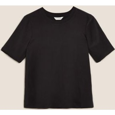M&S Autograph Womens Pure Silk Relaxed Short Sleeve Top - 6 - Black, Black,Ivory