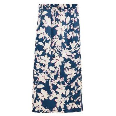 M&S Autograph Womens Satin Floral Midi Slip Skirt - 6 - Navy Mix, Navy Mix