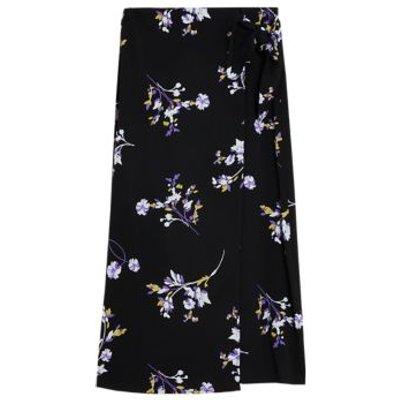 M&S Autograph Womens Floral Midi Wrap Skirt - 8 - Black Mix, Black Mix