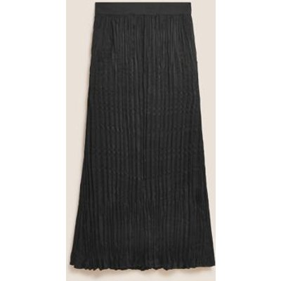 M&S Autograph Womens Plisse Pleated Maxi Slip Skirt - 8 - Black, Black