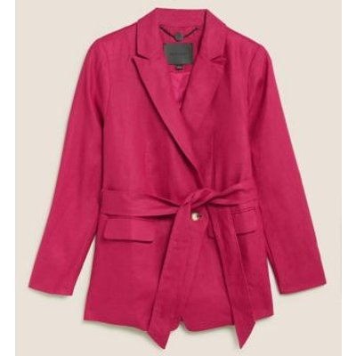 M&S Autograph Womens Irish Linen Slim Belted Blazer - 8 - Dark Pink, Dark Pink