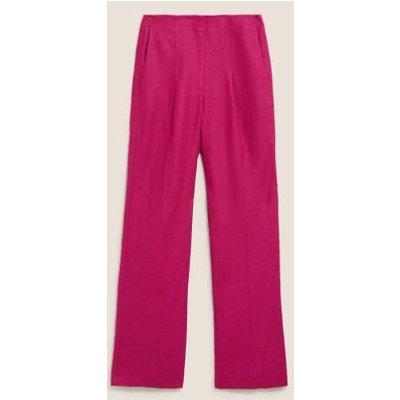 M&S Autograph Womens Irish Linen Wide Leg Trousers - 6 - Dark Pink, Dark Pink