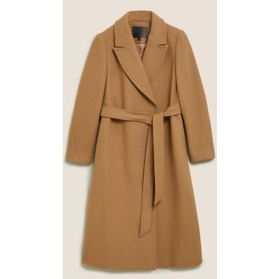 M&S Autograph Womens Wool Longline Wrap Coat with Cashmere - 16 - Camel, Camel