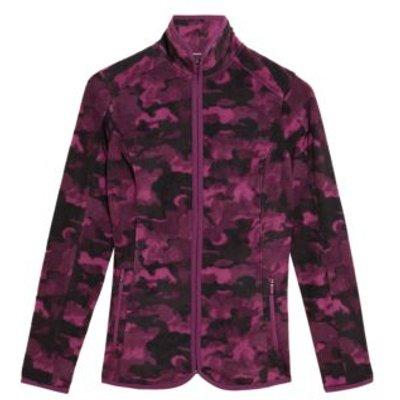 M&S Goodmove Womens Printed Funnel Neck Fleece Jacket - 8 - Dark Magenta, Dark Magenta
