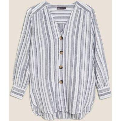 M&S Womens Linen Striped V-Neck Button Detail Tunic - 8 - Blue Mix, Blue Mix,White Mix