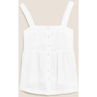 M&S Womens Pure Linen Button Detail Cami Top - 8 - White, White,Blue