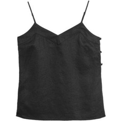 M&S Womens Pure Linen V-Neck Cami Top - 6 - Black, Black