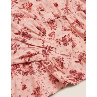 M&S Per Una Womens Floral Waisted Blouson Sleeve Blouse - 8 - Pink Mix, Pink Mix