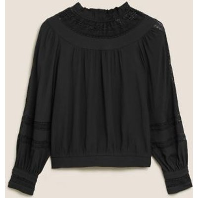 M&S Per Una Womens High Neck Lace Insert Long Sleeve Blouse - 6 - Charcoal, Charcoal