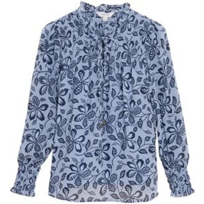 M&S Per Una Womens Floral Tie Neck Long Sleeve Blouse - 8 - Medium Blue Mix, Medium Blue Mix