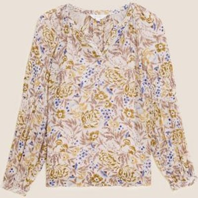 M&S Per Una Womens Floral V-Neck Shirred Long Sleeve Blouse - 6 - Ivory Mix, Ivory Mix