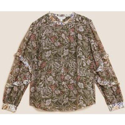 M&S Per Una Womens Floral Ruffle Long Sleeve Blouse - 6 - Khaki Mix, Khaki Mix