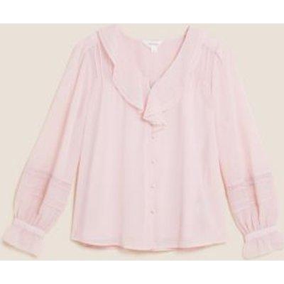 M&S Per Una Womens V-Neck Ruffle Long Sleeve Blouse - 8 - Pink Shell, Pink Shell
