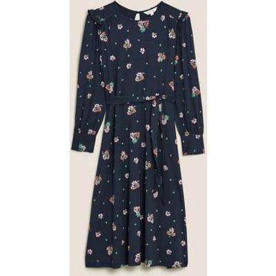 M&S Per Una Womens Jersey Floral Frill Sleeve Midi Smock Dress - 8 - Navy Mix, Navy Mix
