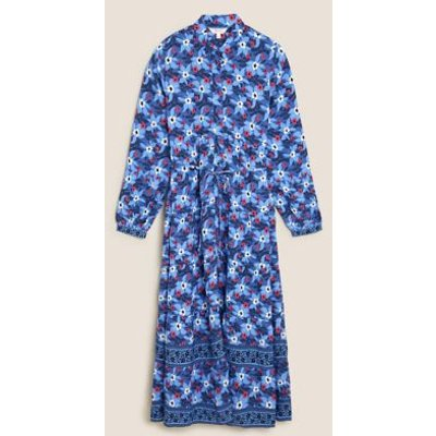 M&S Per Una Womens Floral Collared Neck Midaxi Shirt Dress - 8 - Blue Mix, Blue Mix