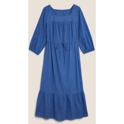 M&S Per Una Womens Pure Cotton Embroidered Midi Waisted Dress - 6 - Blue, Blue