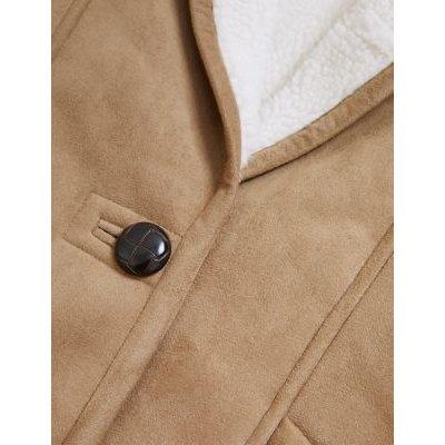 M&S Per Una Womens Suedette Borg Overcoat - 8 - Light Tan, Light Tan