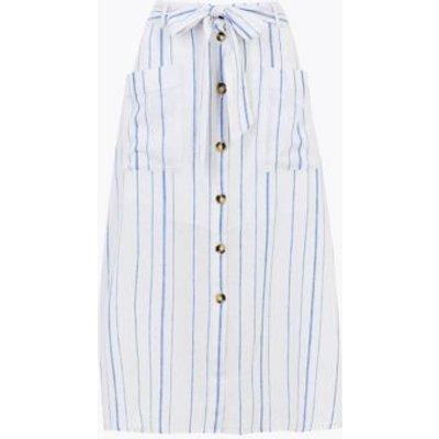 M&S Per Una Womens Linen Striped Midi A-Line Skirt - 6 - White Mix, White Mix