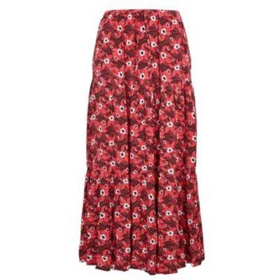 M&S Per Una Womens Crepe Floral Tiered Midi Skirt - 8 - Pink Mix, Pink Mix