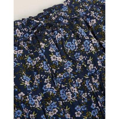 M&S Per Una Womens Floral Tiered Midi Skirt - 6 - Navy Mix, Navy Mix