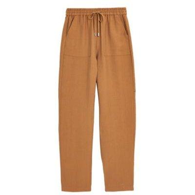 "M&S Womens Tencelâ""¢ Tapered Ankle Grazer Trousers - 6SHT - Camel, Camel,Dark Khaki,Navy,Grey"