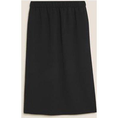 M&S Womens Crepe Side Split Midi Skirt - 8REG - Black, Black