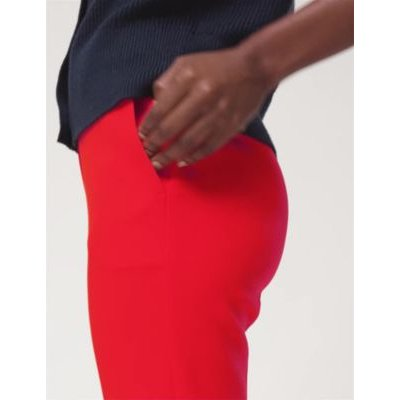 M&S Womens Slim Fit Ankle Grazer Trousers - 8LNG - Chilli, Chilli