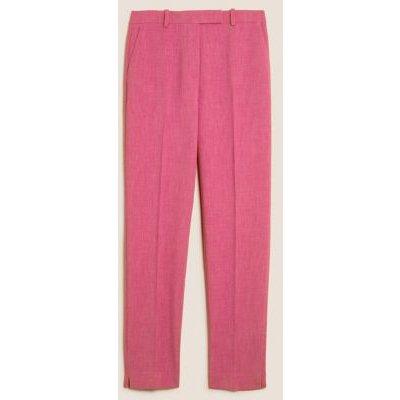 M&S Womens Slim Fit Ankle Grazer Trousers - 8LNG - Fuchsia, Fuchsia