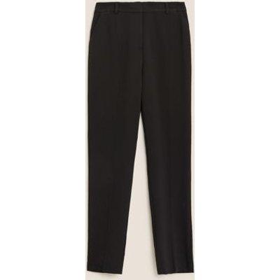 M&S Womens Slim Fit Ankle Grazer Trousers - 6SHT - Black, Black,Dark Navy