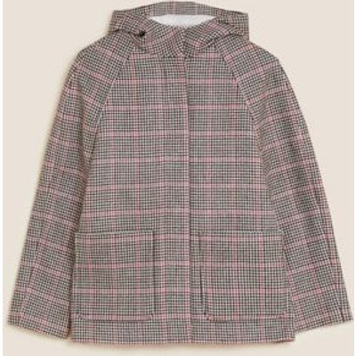 M&S Womens Checked Hooded Coat with Wool - 6 - Multi/Neutral, Multi/Neutral