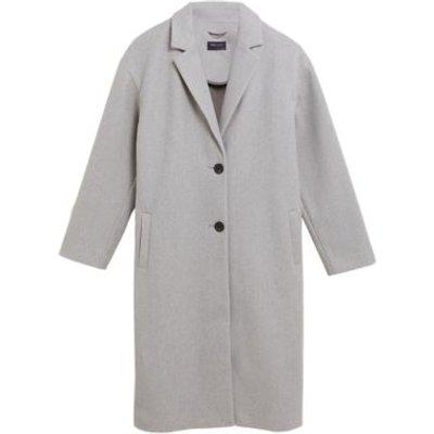 M&S Womens Single Breasted Longline Coatigan - 8 - Grey Marl, Grey Marl,Navy