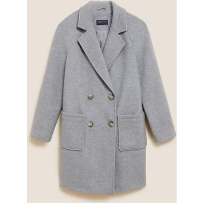 M&S Womens Double Breasted Relaxed Coat - 8 - Mid Grey Marl, Mid Grey Marl,Dusted Pink