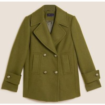 M&S Womens Double Breasted Pea Coat with Wool - 6 - Dark Khaki, Dark Khaki,Navy