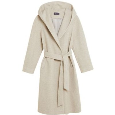 M&S Womens Hooded Belted Longline Wrap Coat - 8 - Neutral, Neutral