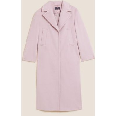 M&S Womens Relaxed Longline Tailored Coat With Wool - XS - Pink, Pink