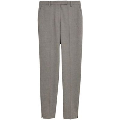 M&S Womens Checked Slim Fit Ankle Grazer Trousers - 6REG - Black Mix, Black Mix