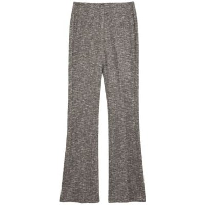 M&S Womens Jersey Checked Flared Trousers - 6SHT - Black Mix, Black Mix