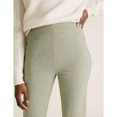 M&S Womens Jersey Flared Trousers - 6SHT - Khaki, Khaki