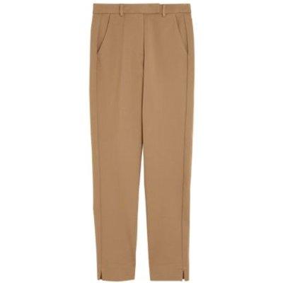 M&S Womens Jersey Slim Fit Ankle Grazer Trousers - 6REG - Praline, Praline,Black,Navy