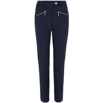 M&S Womens Mia Slim Cotton Ankle Grazer Trousers - 6REG - Dark Navy, Dark Navy,Black