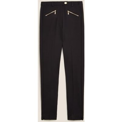 M&S Womens Zip Detail Slim Fit Ankle Grazer Trousers - 6REG - Black, Black