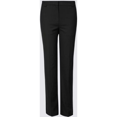 M&S Womens Freya Straight Leg Trousers - 6REG - Black, Black