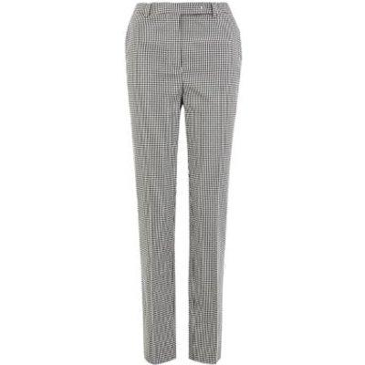 M&S Womens Mia Slim Checked Ankle Grazer Trousers - 6SHT - Black/White, Black/White